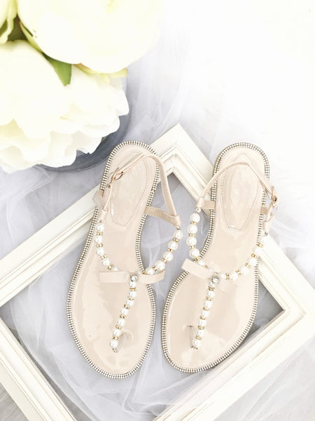 BEIGE T-Strap Wedding Pearl Sandals With Rhinestones Embellishments ,Women Shoes- Kailee P