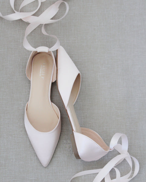 BLUSH Satin Pointy Toe Flats with Satin Ankle Tie or Ballerina Lace Up