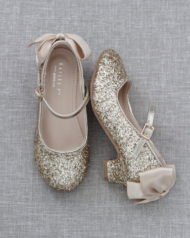 GOLD Rock Glitter Mary Jane Heels With Satin Bow