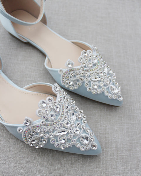 Light Blue Satin Pointy Toe Flats with RHINESTONES APPLIQUE Embellishments
