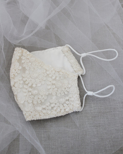 Ivory Crochet Lace Face Mask