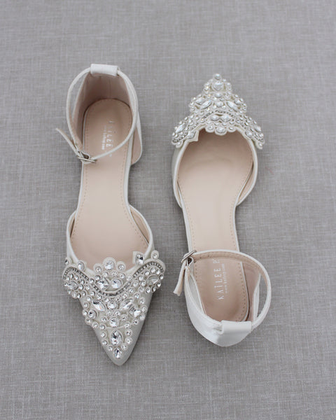 Ivory Satin Pointy Toe Flats with RHINESTONES APPLIQUE Embellishments