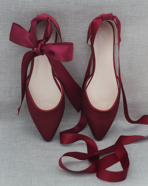 BURGUNDY Satin Pointy Toe Flats with Satin Ankle Tie or Ballerina Lace Up