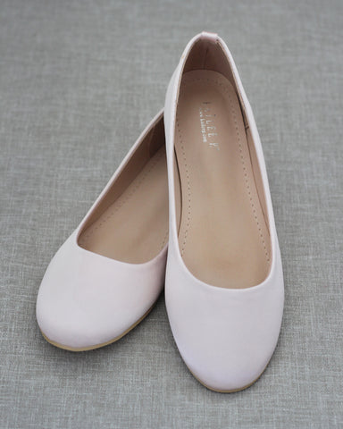 BLUSH Satin Round Toe Slip on Flats