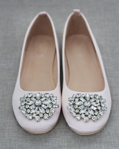 BLUSH Satin Round Toe Slip on Flats with Oversized Brooch