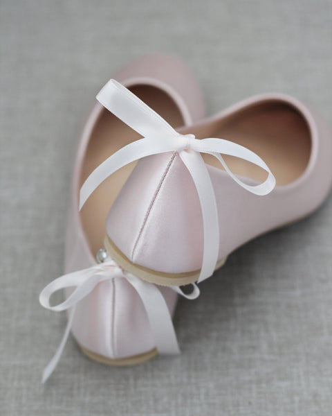 BLUSH Satin Round Toe Flats with Pearls Ankle Strap