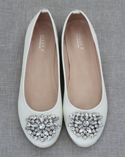 IVORY Satin Round Toe Slip on Flats with Oversized Brooch