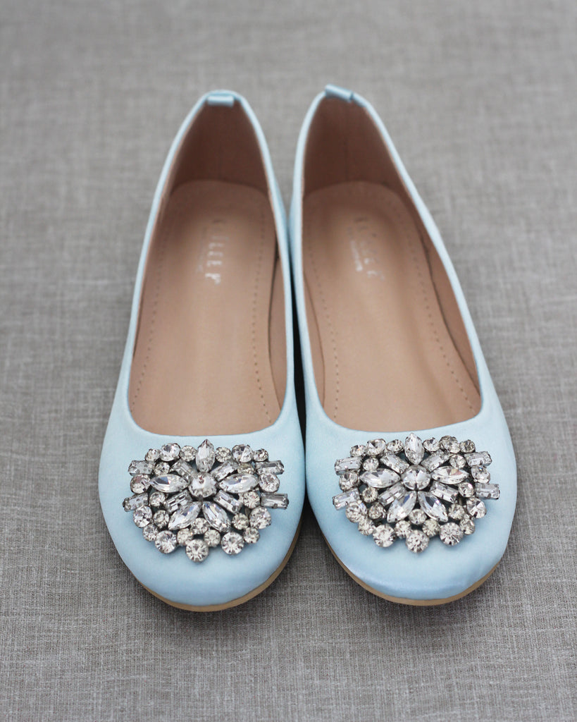 LIGHT BLUE Satin Round Toe Slip on Flats with Oversized Brooch