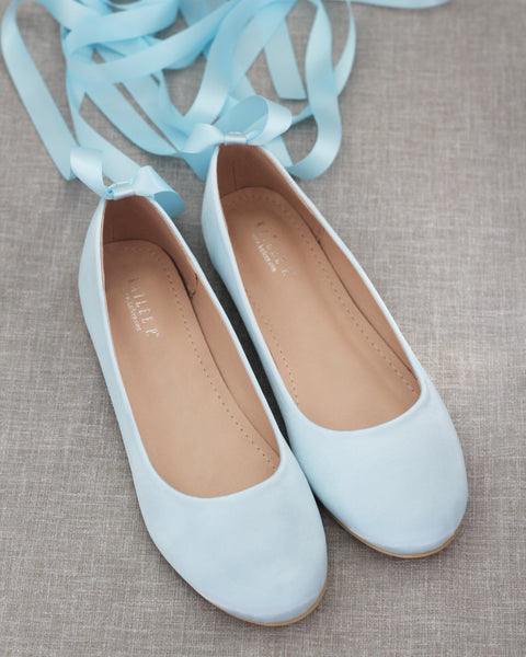 LIGHT BLUE Satin Round Toe Flats with Satin Ankle Tie or Ballerina Lace Up