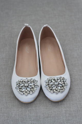 WHITE Satin Round Toe Slip on Flats with Oversized Brooch