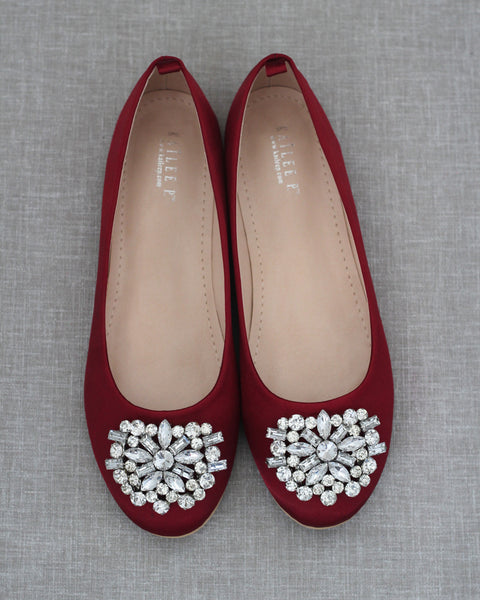 BURGUNDY Satin Round Toe Slip on Flats with Oversized Brooch
