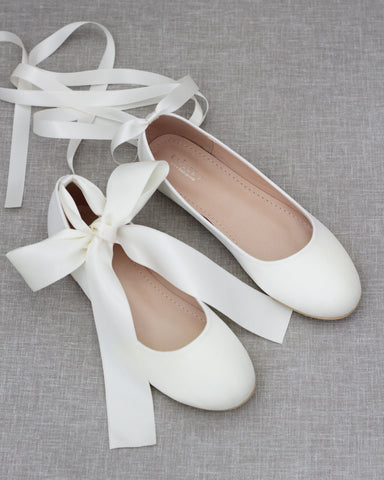 IVORY Satin Round Toe Flats with Satin Ankle Tie or Ballerina Lace Up