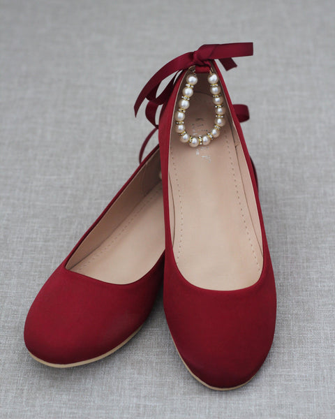 BURGUNDY Satin Round Toe Flats with Pearls Ankle Strap