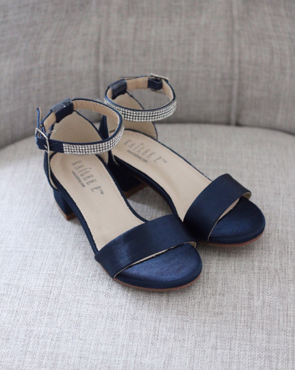 Navy Blue Satin Block Heel Sandals with MINI RHINESTONES Embellished Ankle Strap