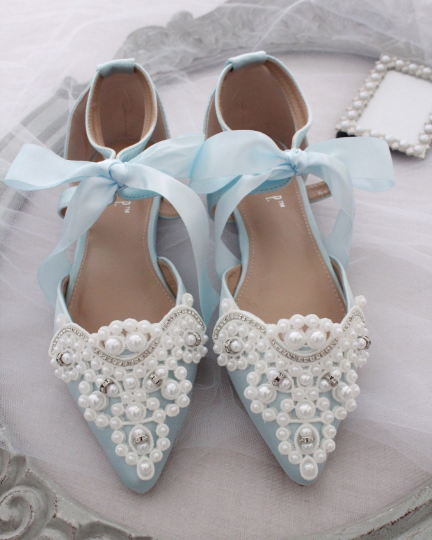 Light Blue Satin Pointy Toe Flats with OVERSIZED PEARLS APPLIQUE