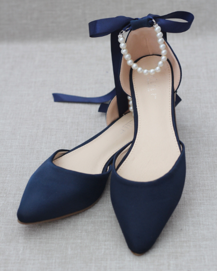 NAVY Satin Pointy Toe Flats with Satin Ankle Tie or Ballerina Lace Up