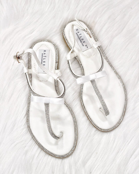 WHITE Sandals T-Strap Rhinestones Flat Sandals with Dainty Bow