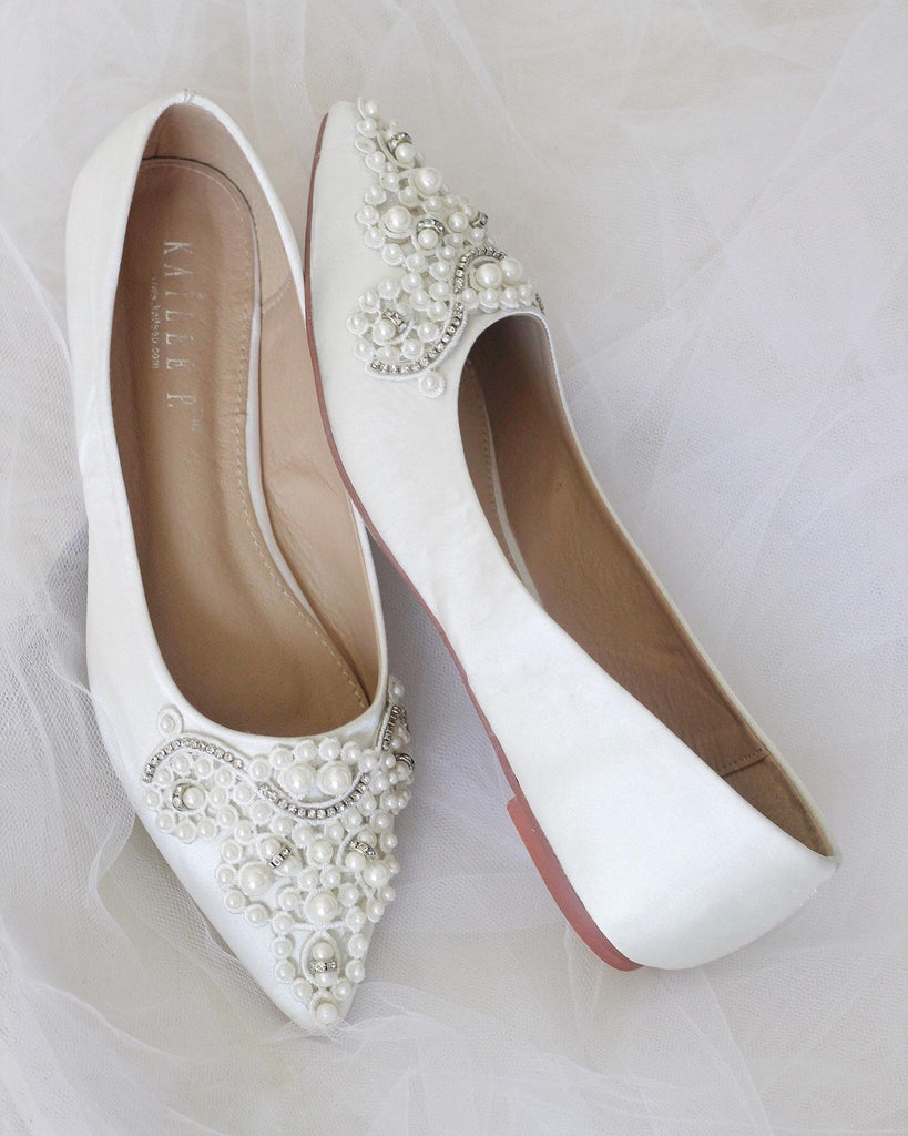 IVORY Satin Pointy Toe Flats with Pearls Applique