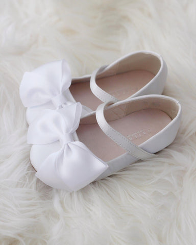 WHITE Satin Mary Jane with Velcro and Front Satin Bow
