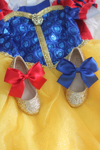 SNOW WHITE INSPIRED - Gold Rock Glitter Mary Jane with Satin Bow