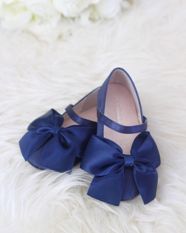 NAVY Satin Mary Jane with Velcro and Front Satin Bow