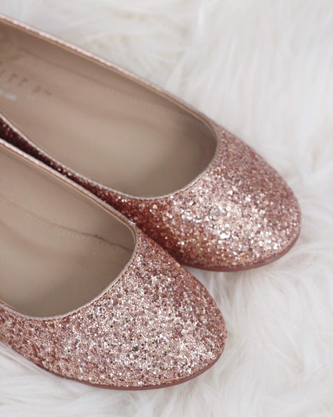 Rose Gold Rock Glitter BLUSH SATIN Ballerina Lace Up Flats