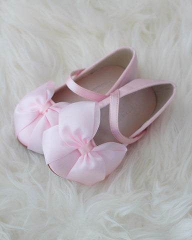 PINK Satin Mary Jane with Velcro and Front Satin Bow