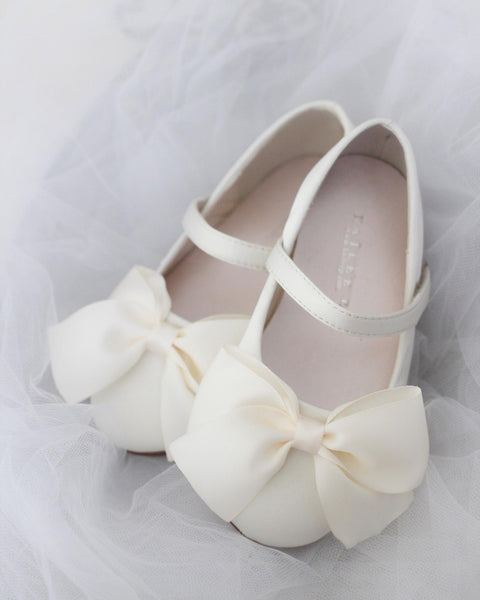 IVORY Satin Mary Jane with Velcro and Front Satin Bow