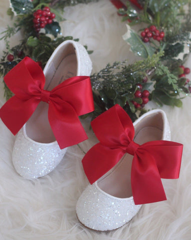 Girls shoes WHITE Rock Glitter Maryjane Flats With RED Satin Bow