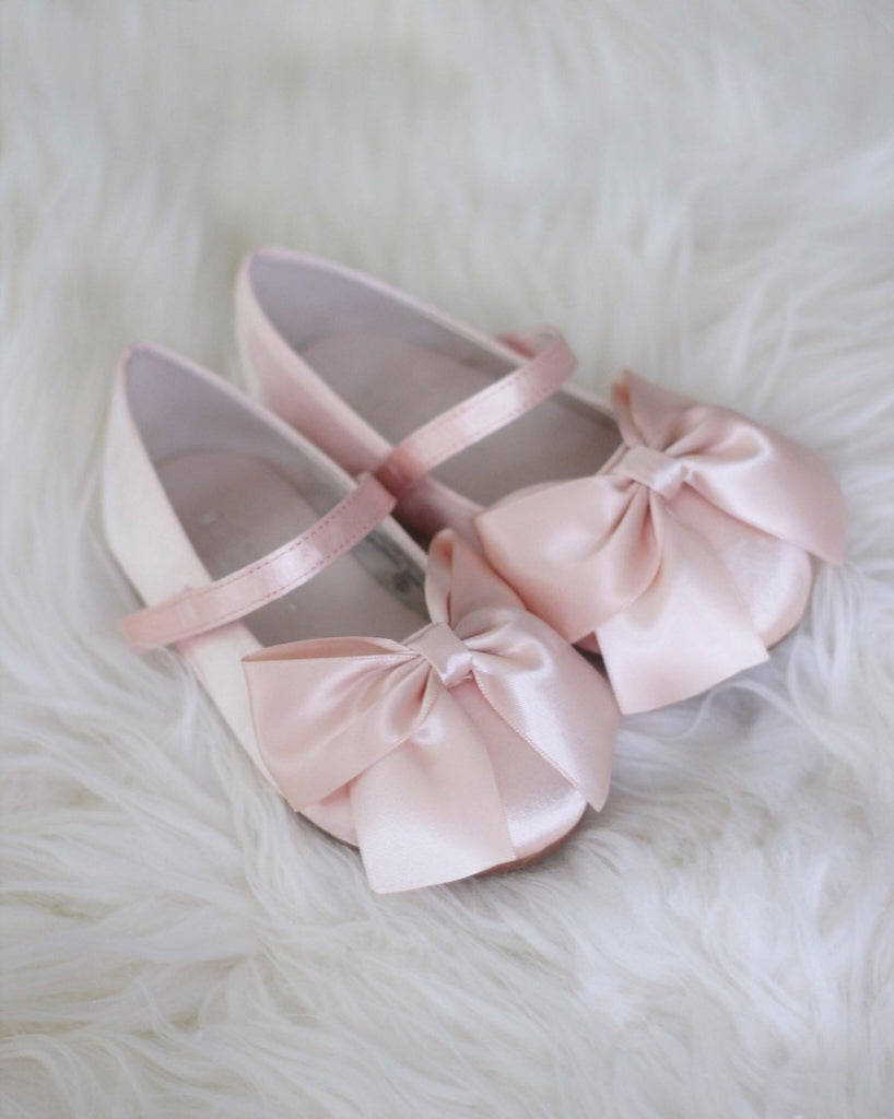 BLUSH Satin Mary Jane with Velcro and Front Satin Bow