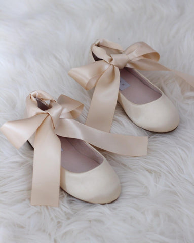 CHAMPAGNE Satin Flats with Satin Ankle Tie