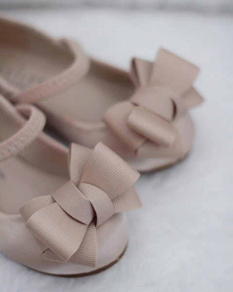 CHAMPAGNE Satin Maryjane Flats with Grosgrain Bow