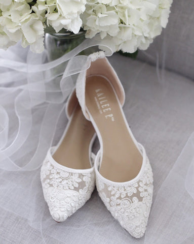 WHITE CROCHET LACE Pointy Toe with Sheer Organza Ballerina Lace Up