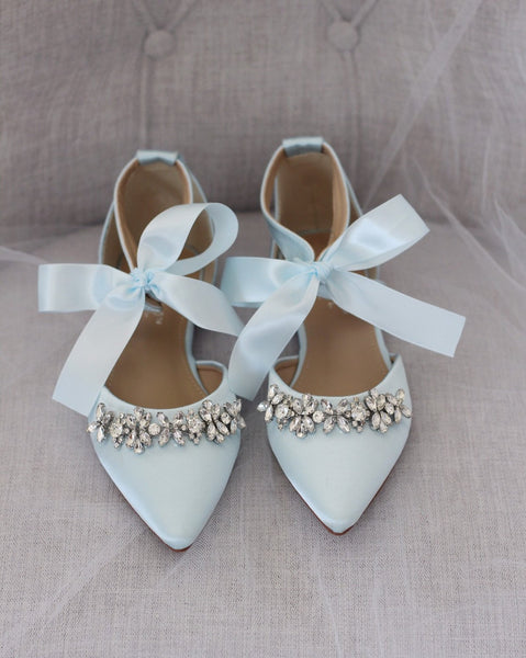 Light Blue Satin Pointy Toe Flats with Rhinestones Embellishment