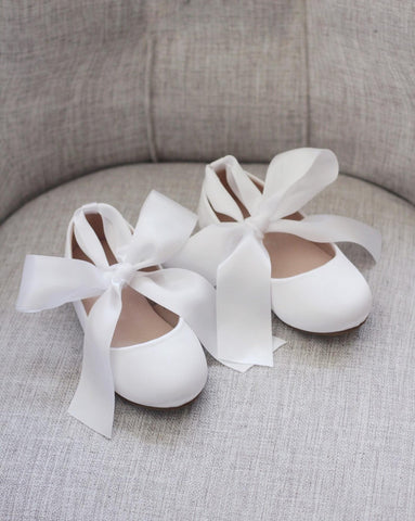 WHITE Satin Flats with Satin Ankle Strap