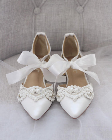 WHITE SATIN Pointy Toe Flats with Satin Ankle Tie and Pearls Applique
