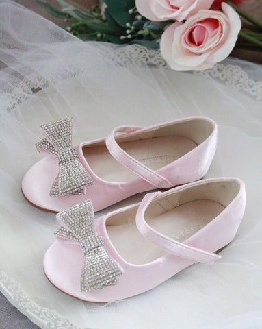 PINK Satin Maryjane with Embellished Tuxedo Bow