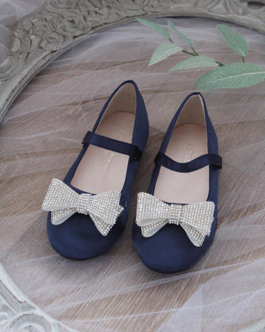 NAVY BLUE Mary Jane with Embellished Tuxedo Bow