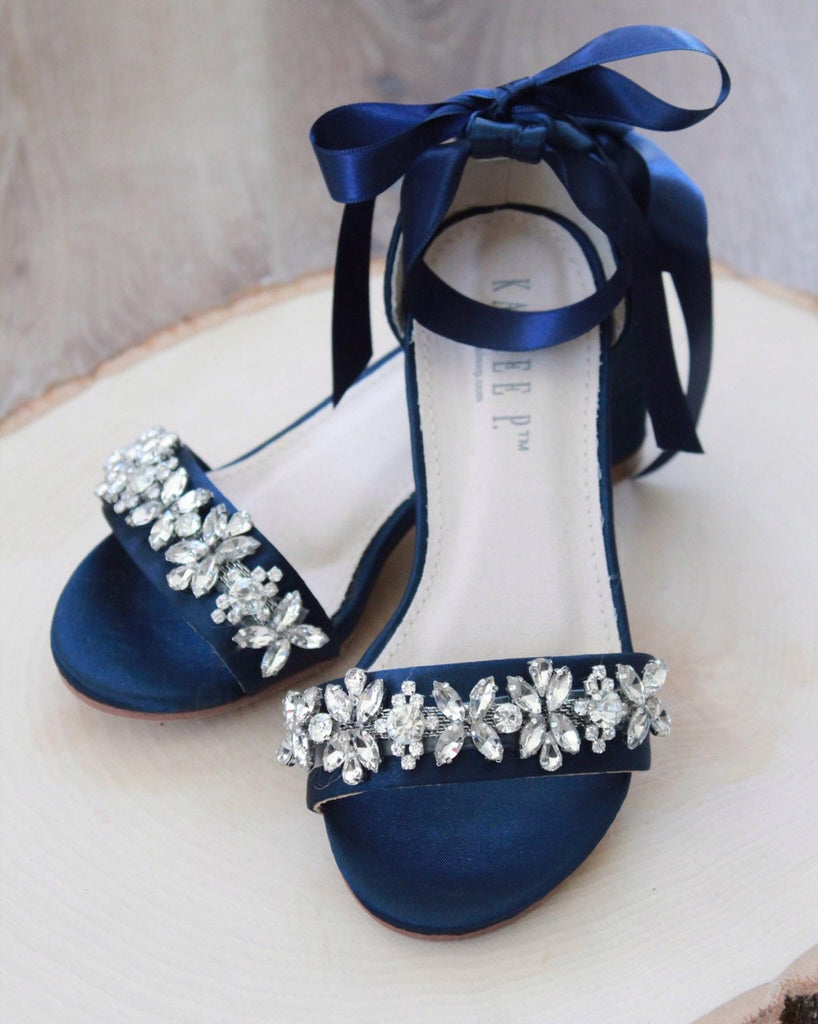 navy satin block heels sandals