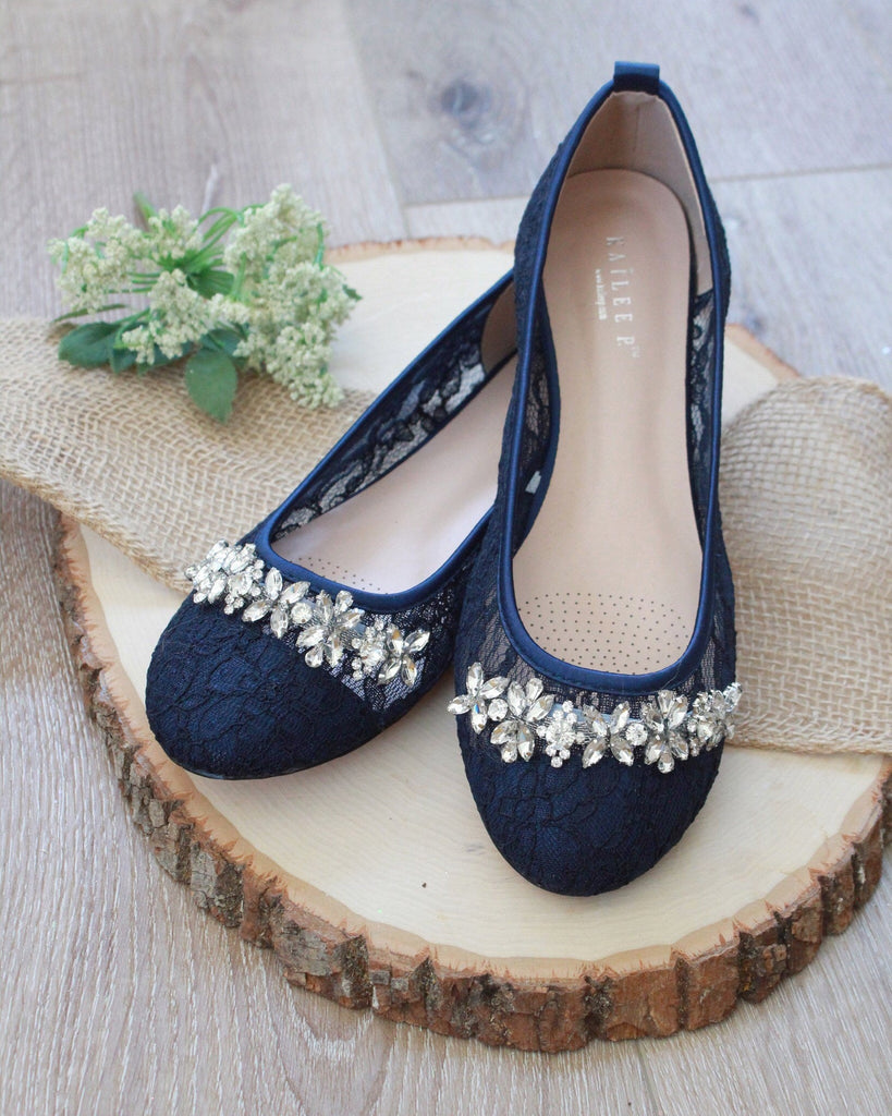 NAVY New Lace Round Toe Flats with FLORAL RHINESTONES Embellishments