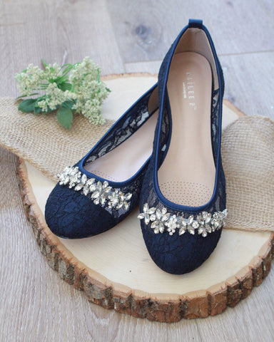 NAVY New Lace Round Toe Flats with Rhinestones Embellishments