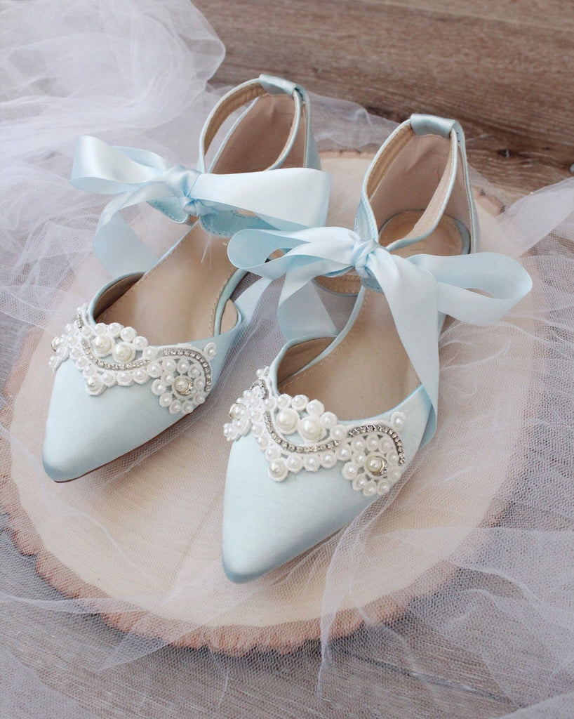 LIGHT BLUE Satin Pointy Toe Flats with Satin Ankle Tie and Pearls Applique