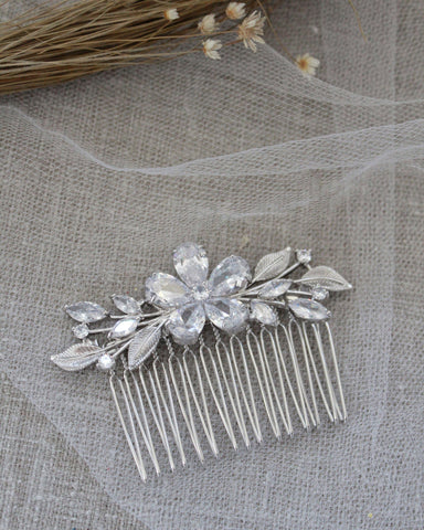 FLOWER Cubic Zirconia Hair Comb