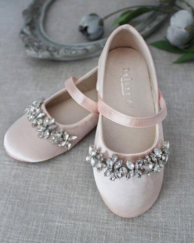 BLUSH Satin Mary Jane Flats With Embellished Rhinestones