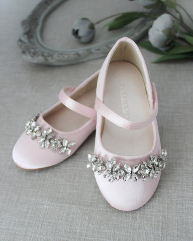PINK Satin Mary Jane Flats With Embellished Rhinestones