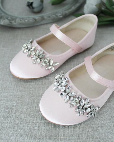 PINK Satin Mary Jane Flats With Embellished FLORAL RHINESTONES