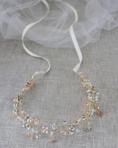 Vintage Headpiece with Floral and Rhinestones