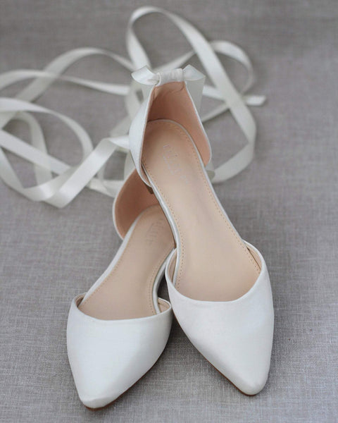 IVORY Satin Pointy Toe Flats with Satin Ankle Tie or Ballerina Lace Up