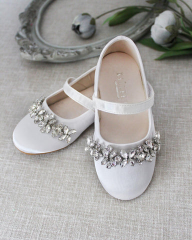WHITE Satin Mary Jane Flats With Embellished Rhinestones