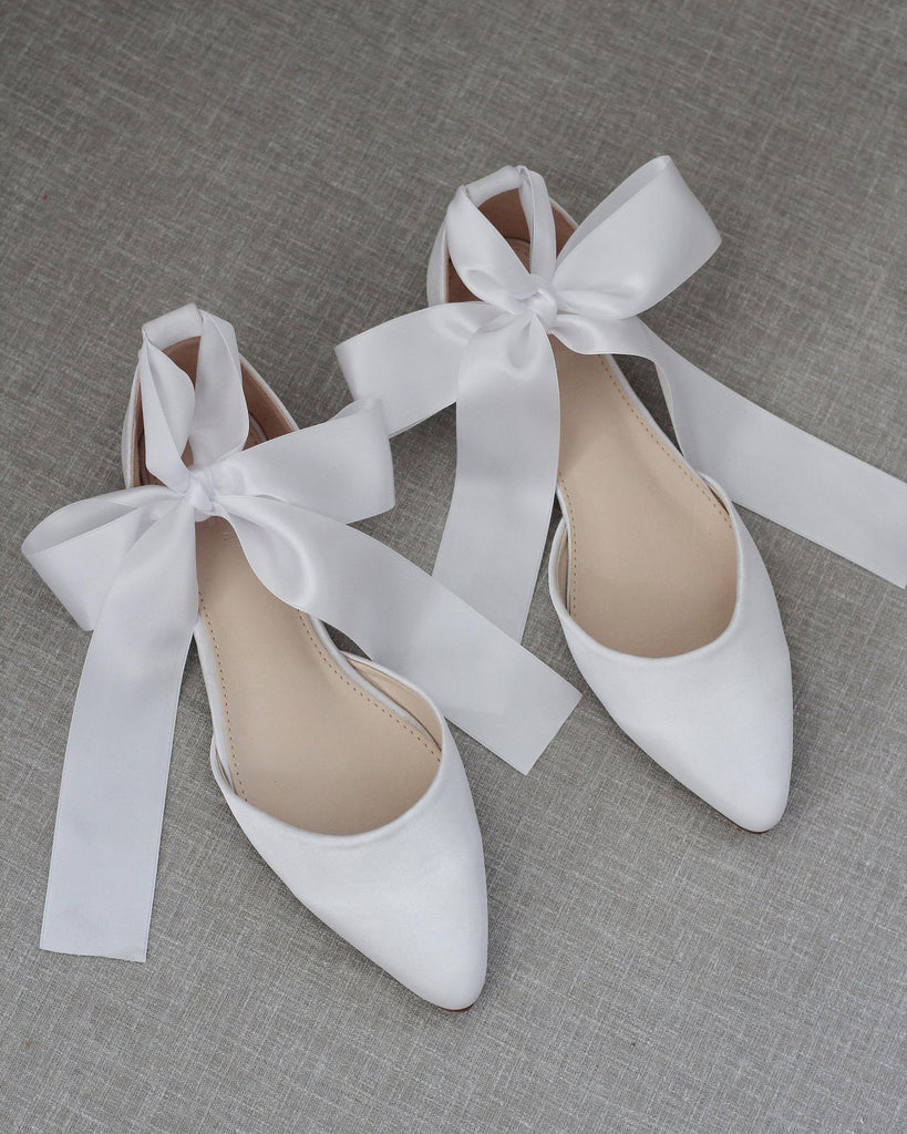 WHITE Satin Pointy Toe Flats with Satin Ankle Tie or Ballerina Lace Up
